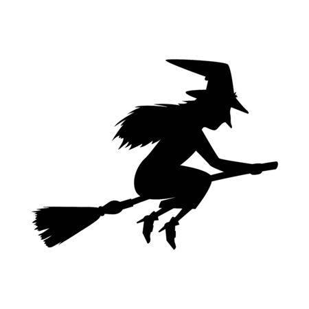 witch silhouette flying in broom isolated icon vector illustration design Ilustrace