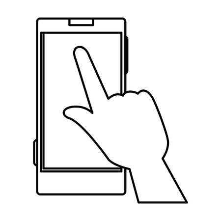 hand with smartphone device icon vector illustration design