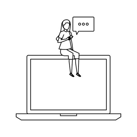 woman using smartphone seated in laptop with speech bubble vector illustration