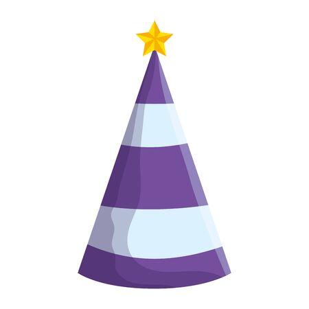 party hat with star decorative icon vector illustration design Ilustração