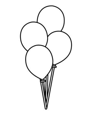 balloons helium floating decorative icons vector illustration design Ilustração
