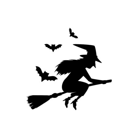 witch silhouette flying in broom isolated icon vector illustration design Illusztráció