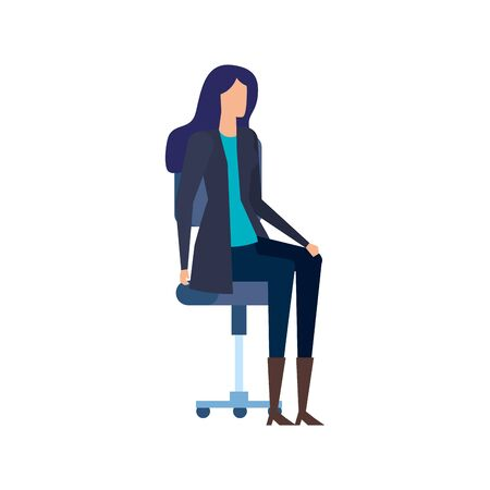 elegant businesswoman worker seated in office chair vector illustration design