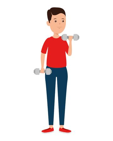 happy athletic boy weight lifting vector illustration design Illustration