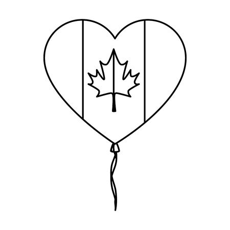 balloon helium with canadian flag and heart shape vector illustration design Ilustrace