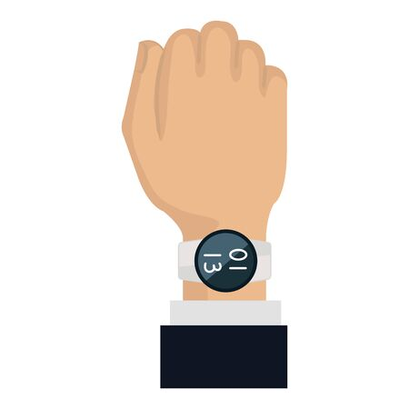 hand with smartwatch weareable technology vector illustration design Illustration