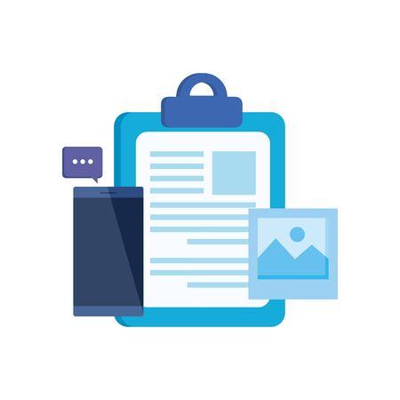 checklist clipboard with smartphone device vector illustration design Stock Vector - 133856271