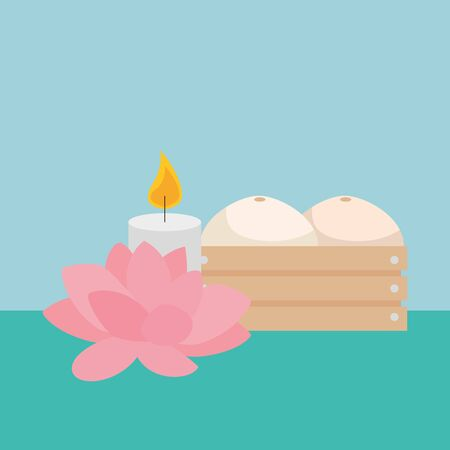 paraffin candle with lotus flower and wooden box vector illustration design