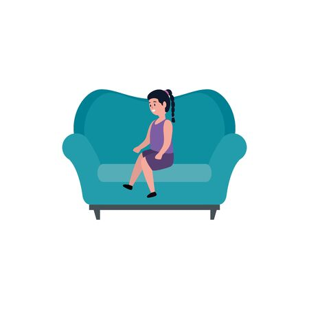 cute little girl seated in sofa vector illustration design Illustration