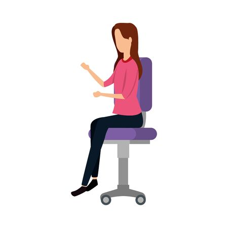 elegant businesswoman worker seated in office chair vector illustration design Banque d'images - 133856248