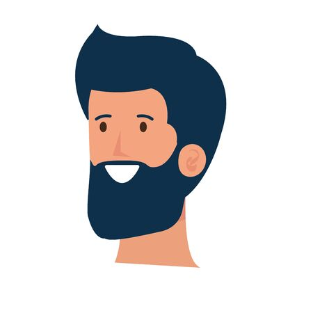 happy young man with beard head character vector illustration design