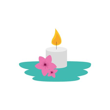 paraffin candle with flowers garden vector illustration design Иллюстрация
