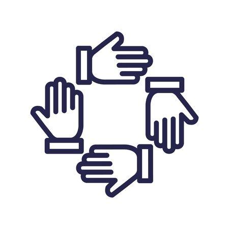 teamwork people hands around icons vector illustration design