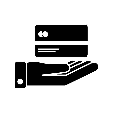 hand lifting with credit card money vector illustration design