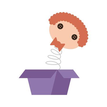 head doll jumping cute baby toy vector illustration design 向量圖像