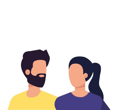 young lovers couple avatars characters vector illustration design 일러스트