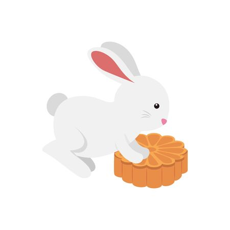 cute and little rabbit with flower wooden vector illustration design