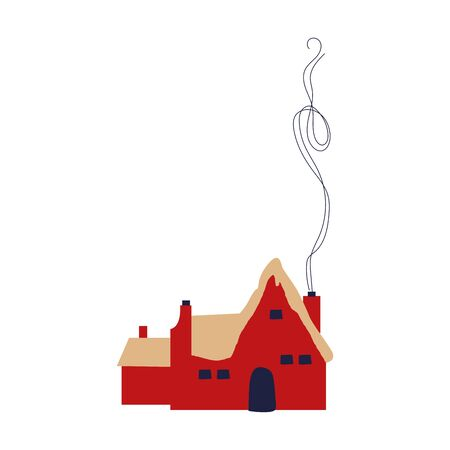 cute little house with chimney icon vector illustration design