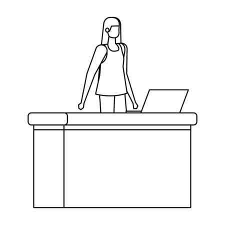 woman working in desk with computer vector illustration design