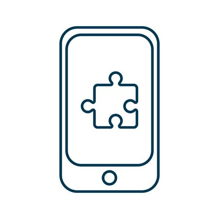 smartphone device with puzzle game vector illustration design