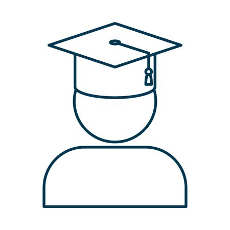 student graduated with hat character vector illustration design Ilustração