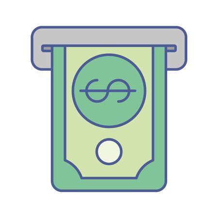 bill money dollar in atm hole vector illustration design