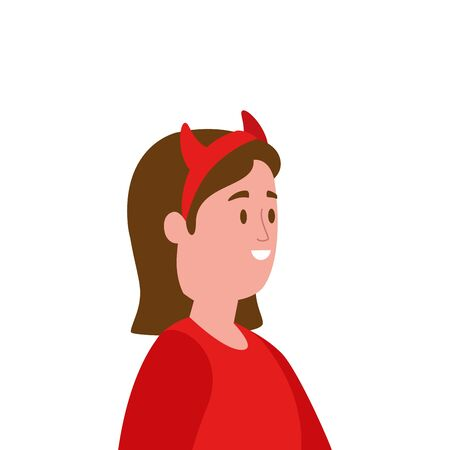 young woman disguised devil avatar character vector illustration design