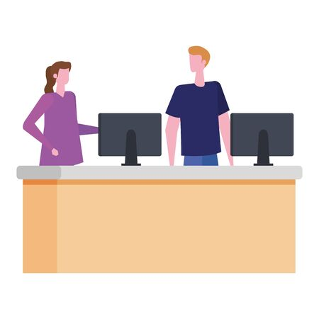 couple working in desk with computers vector illustration design