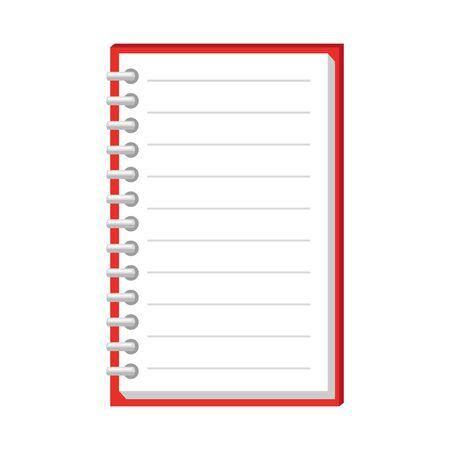 Diseño de ilustración de vector de icono de suministro escolar de cuaderno
