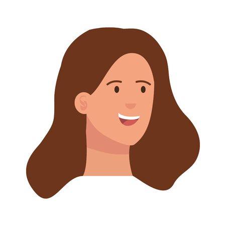 happy young woman head character vector illustration design