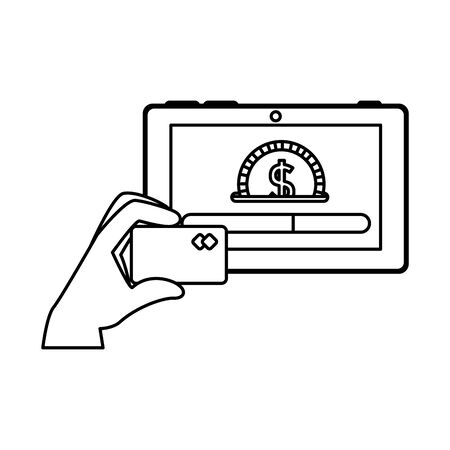 hand using credit card and tablet with coin money vector illustration design