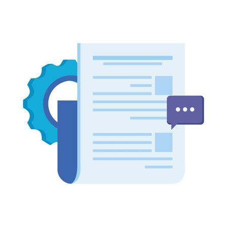paper document file with gears machine vector illustration design Vektorové ilustrace