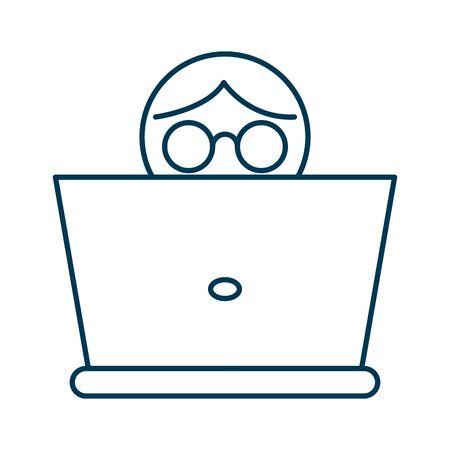 person using laptop computer icon vector illustration design Illustration