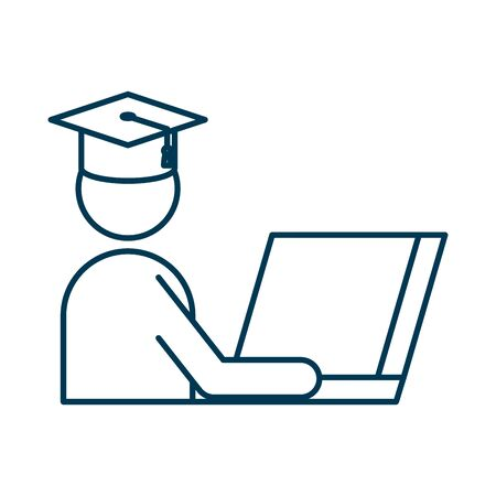 student graduated with hat using laptop vector illustration design