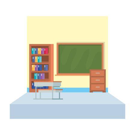 school classroom with chalkboard scene vector illustration design