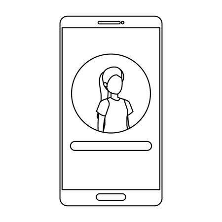 woman acount social in smartphone device character vector illustration design Illusztráció