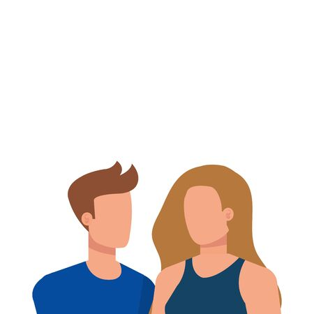 young lovers couple avatars characters vector illustration design Иллюстрация