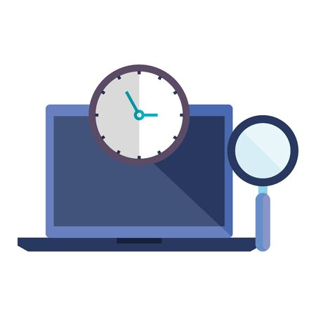 laptop with time clock and magnifying glass vector illustration design  イラスト・ベクター素材