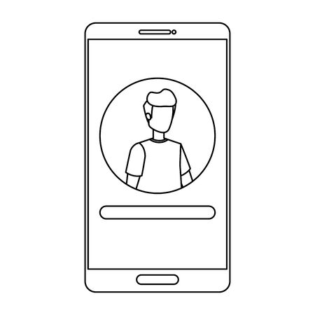 man acount social in smartphone device character vector illustration design
