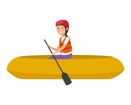 happy athletic girl in kayak character vector illustration design Ilustracja
