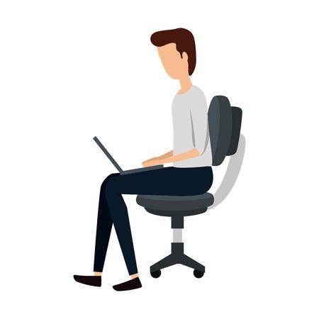 elegant businessman using laptop seated in office chair vector illustration design Иллюстрация