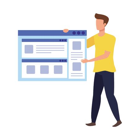 young man with web page vector illustration design