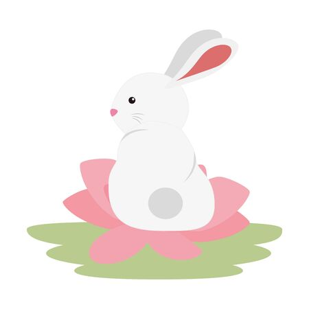 cute and little rabbit in lotus flower character vector illustration design