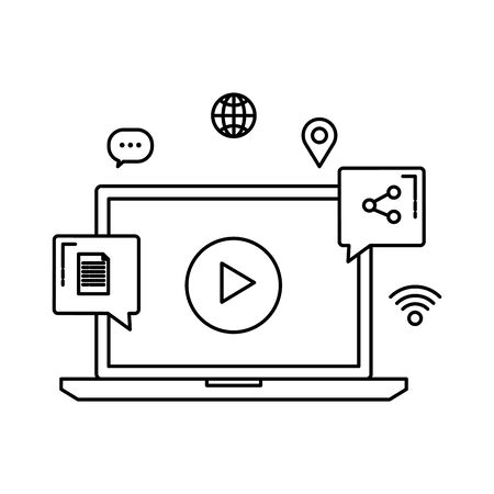 laptop with media player and social icons vector illustration design Ilustrace