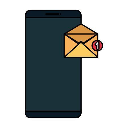 smartphone technology with envelope email vector illustration design