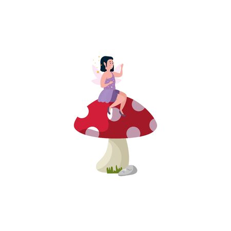 magic fairy sitting in fungus isolated icon vector illustration design