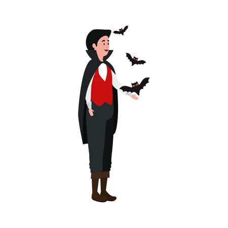 young man disguised vampire with bats flying vector illustration design