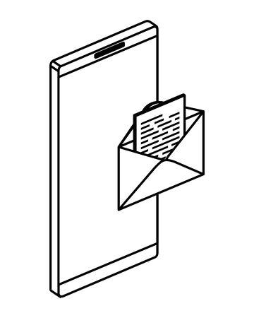 smartphone device with envelope mail vector illustration design
