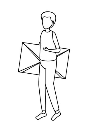 young man lifting envelope mail vector illustration design