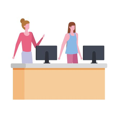 women working in desk with computer vector illustration design